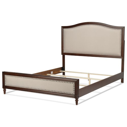 Fashion Bed Group Upholstered Headboards and Beds California King Grandover Transitional Wood and Fabric Ornamental Bed