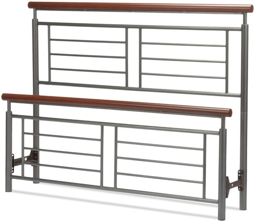 Fashion Bed Group Wood and Metal Beds Full Fontane Bed with Metal Geometric Panels and Rounded Cherry Top Rails