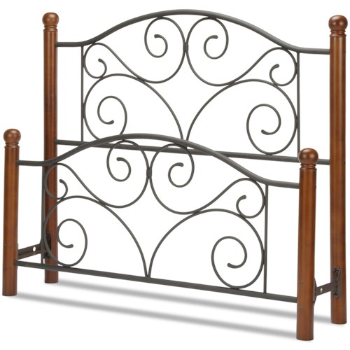 Fashion Bed Group Wood and Metal Beds Full Doral Headboard and Footboard with Metal Panels and Dark Walnut Wood Posts