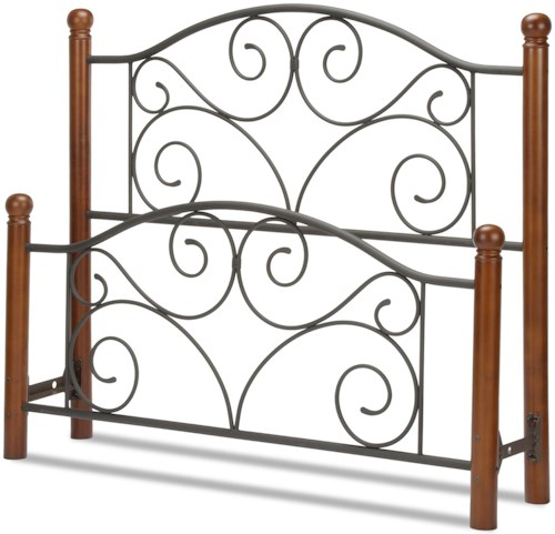 Fashion Bed Group Wood and Metal Beds California King Doral Headboard and Footboard with Metal Panels and Dark Walnut Wood Posts