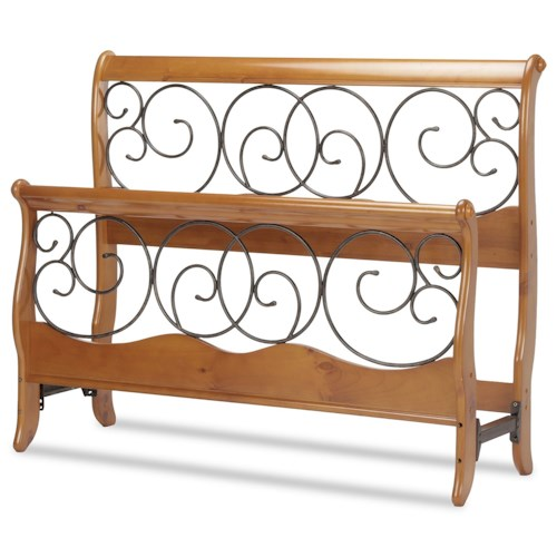 Fashion Bed Group Wood and Metal Beds King Dunhill Headboard and Footboard with Wood Sleigh Style Frame