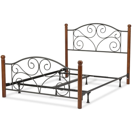 Fashion Bed Group Wood and Metal Beds Queen Doral Bed w/ Frame