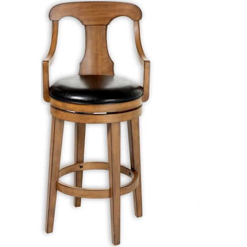 Fashion Bed Group Wood Barstools Albany Wood Counter Stool with Black Upholstered Swivel-Seat and Acorn Frame Finish