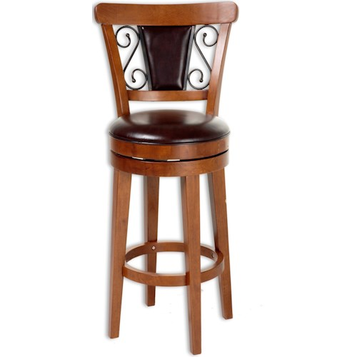 Fashion Bed Group Wood Barstools Trenton Wood Counter Stool with Brown Upholstered Swivel-Seat and Nutmeg Frame Finish