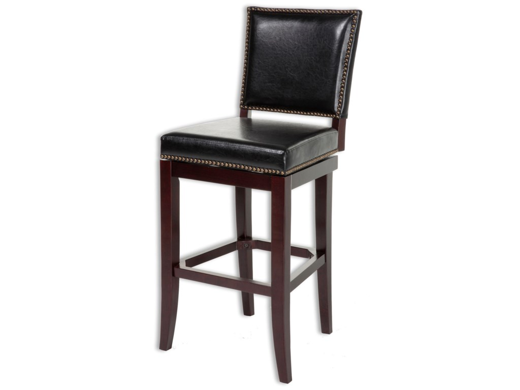 Wood barstools sacramento wood counter stool with black upholstered nail head trim swivel seat and espresso frame finish by fashion bed group
