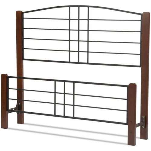 Fashion Bed Group Wood Beds Queen Dayton Headboard and Footboard with Metal Panels and Flat Wooden Posts