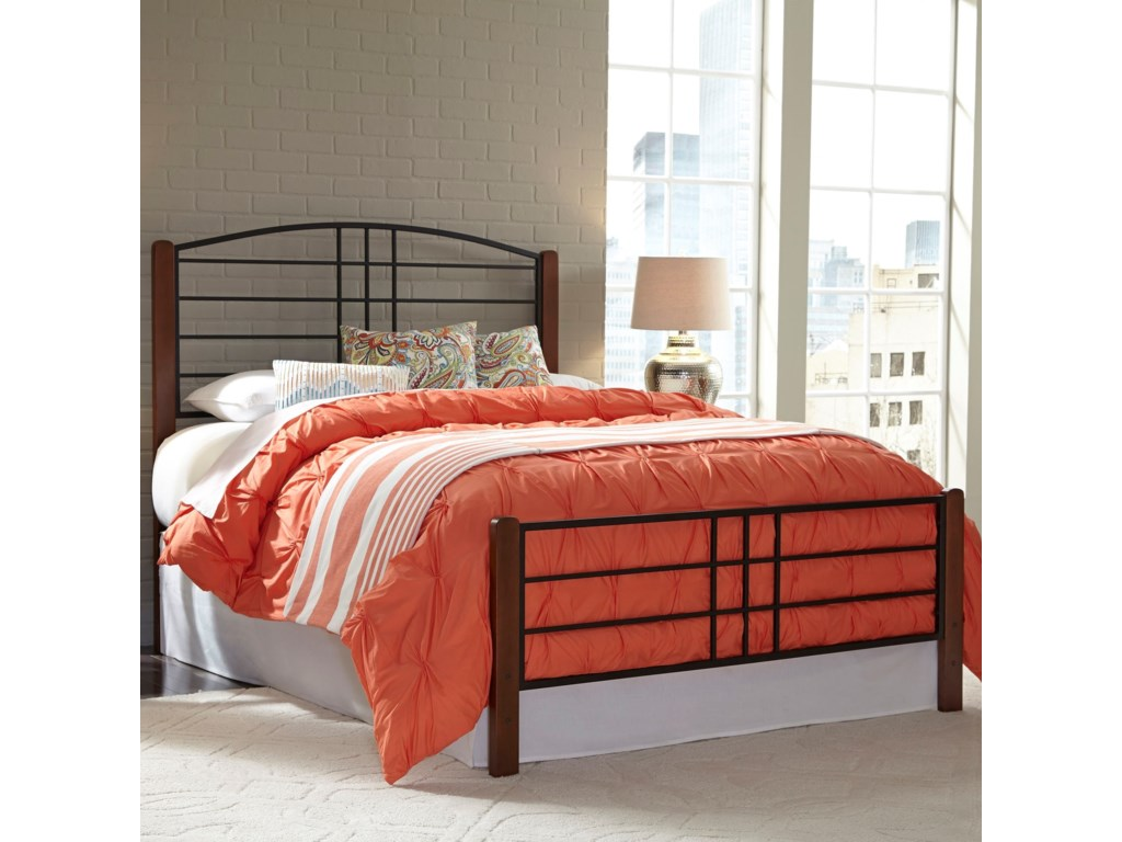 Fashion Bed Group Wood BedsFull Wood and Metal Ornamental Bed