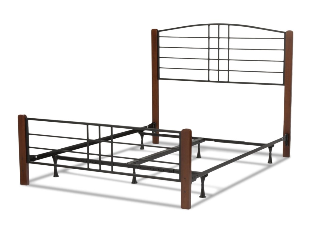 Fashion Bed Group Wood BedsQueen Wood and Metal Ornamental Bed