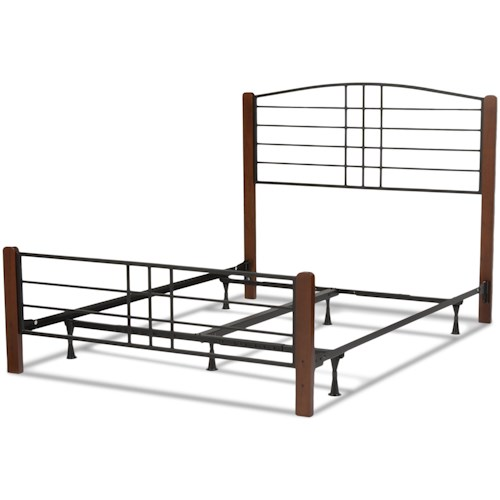 Fashion Bed Group Wood Beds Queen Dayton Wood and Metal Ornamental Bed