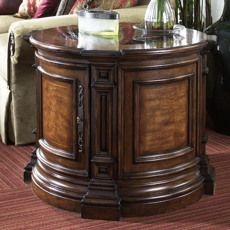Fine Furniture Design Viniterra Round Commode Table With Marble Insert Top