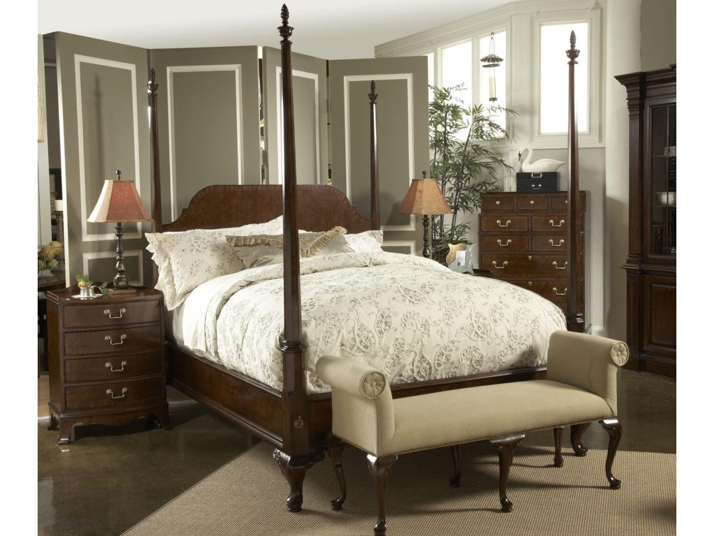 Shown with Queen Bridgeport Pencil Post, Richmond Bedside Table, and Bench