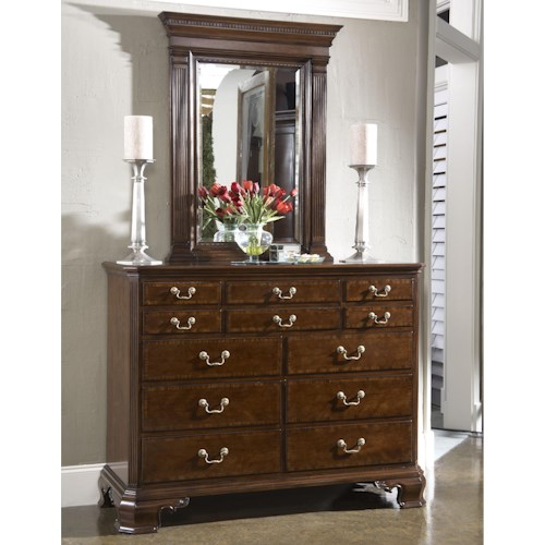 Fine Furniture Design American Cherry Portsmouth Entertianment Dressing Chest & Quincy Vertical Mirror Combination