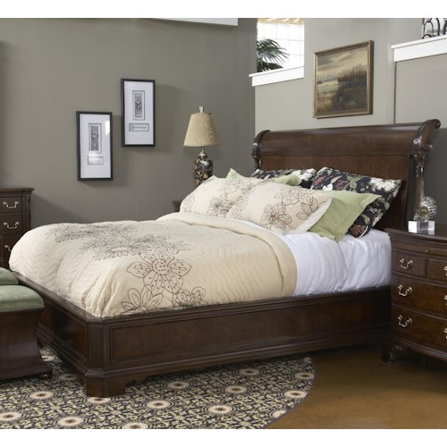 Fine Furniture Design American Cherry King-Size Charleston Platform Panel Bed with Rounded Headboard