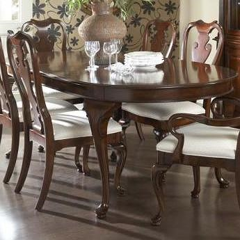 Fine Furniture Design American Cherry Traditional Oval Dining Table with Cabriole Legs & Two Tabletop Leaves