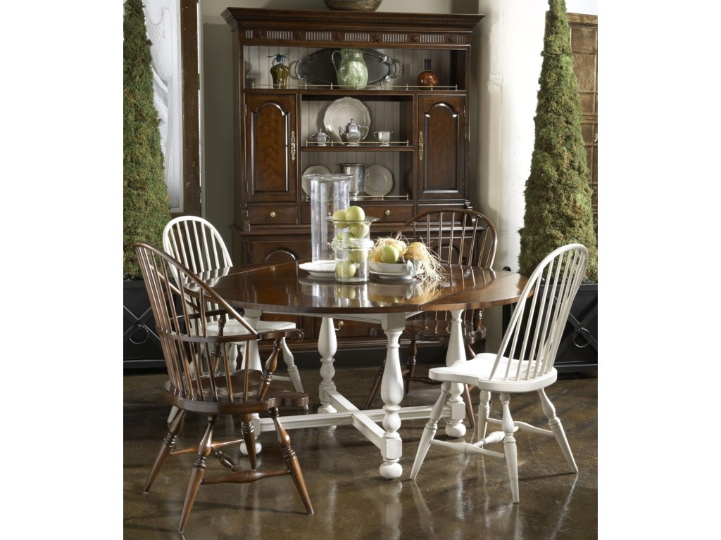 Shown with York Tavern Table, and Rhode Island Windsor Side and Arm Chairs in a Mix of Potomac Cherry and Candlelight Finishes