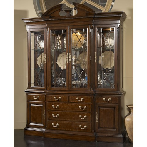 Belfort Signature Belmont Andover Breakfront China Cabinet with Mirrored Back Panel