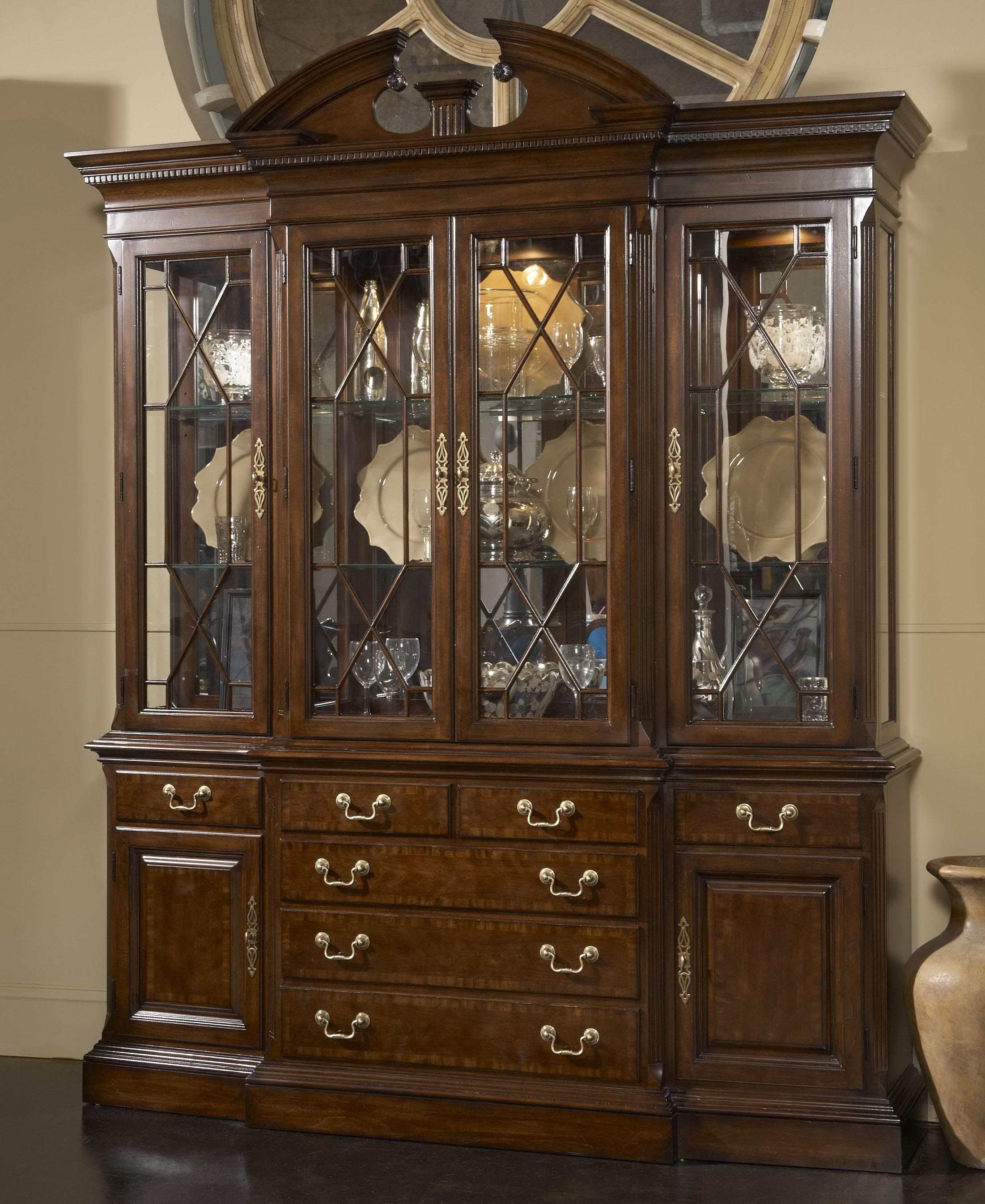 Fine Furniture Design American Cherry Andover Breakfront China Cabinet With  Mirrored Back Panel