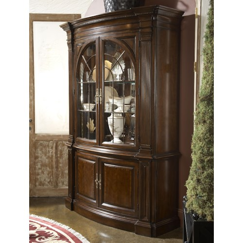 Fine Furniture Design American Cherry Charleston Display Cabinet with Mirrored Back Panel