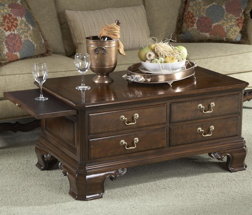 Fine Furniture Design American Cherry Stafford Storage Cocktail Table with Tooled Leather