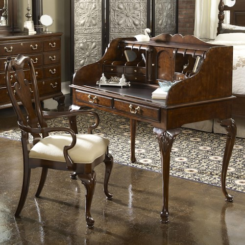 Fine Furniture Design American Cherry New Bedford Ladies' Desk with Tooled Leather Top