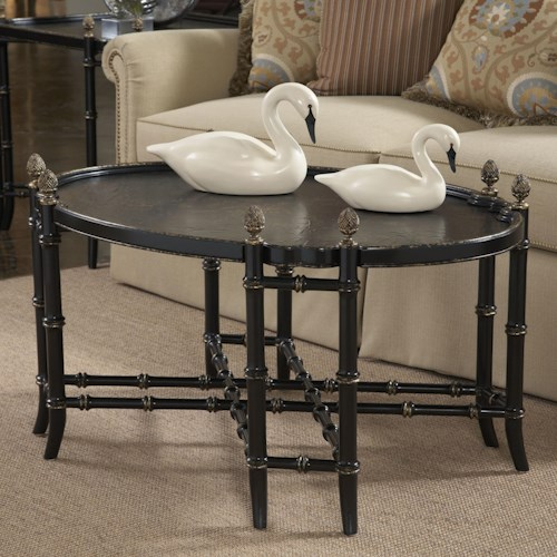 Fine Furniture Design American Cherry New London Chinoiserie Cocktail Table with Black and Gold Chinoiserie Painted Top