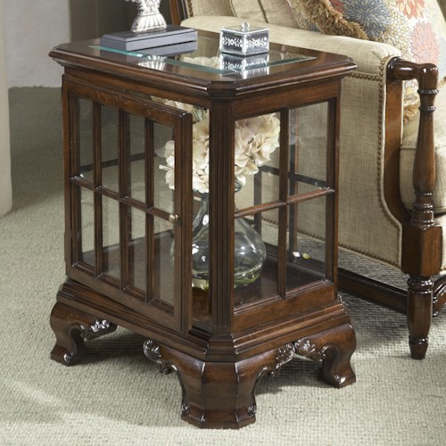 Fine Furniture Design American Cherry Manchester Curio Table with Glass Top and Door