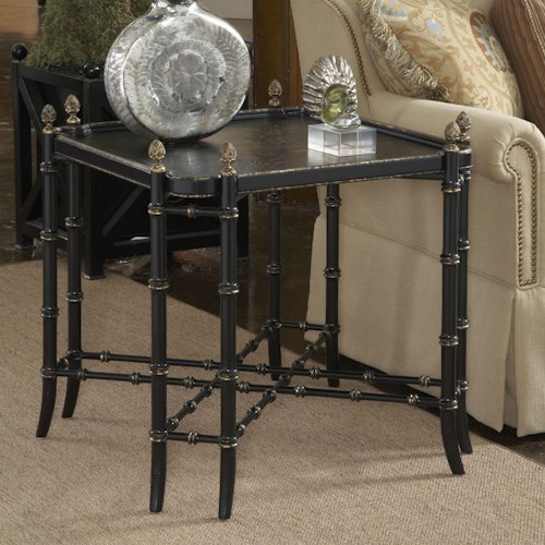 Belfort Signature Belmont New London Chinoiserie Lamp Table with Black and Gold Chinoiserie Painted Top