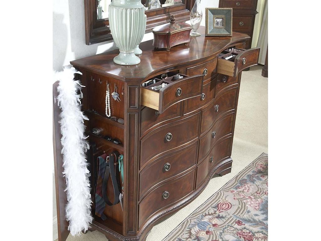 Double Dresser Shown with Open Hidden Panel Door and Jewelry Drawers