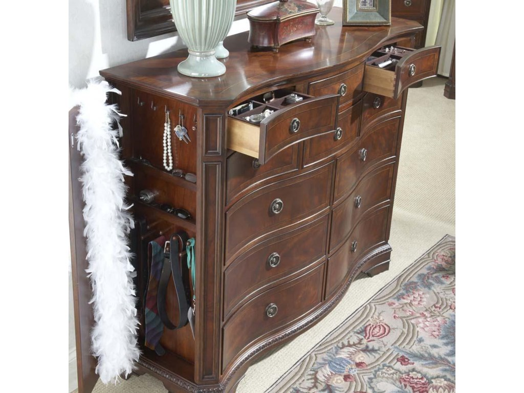 Shown with Hidden Panel Door and Drawers Containing Jewelry Tray Open