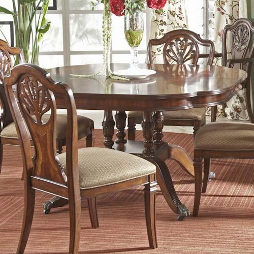 Fine Furniture Design Antebellum Dining Table with Elegantly Crafted Pedestal