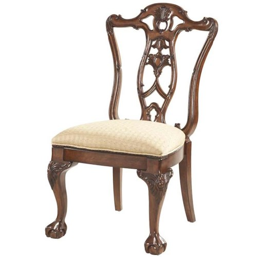 Belfort Signature Westview Ball & Claw Dining Room Side Chair Decorative Wood Back