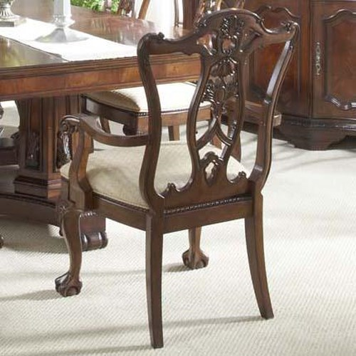 Belfort Signature Westview Ball & Claw Dining Room Arm Chair Decorative Wood Back