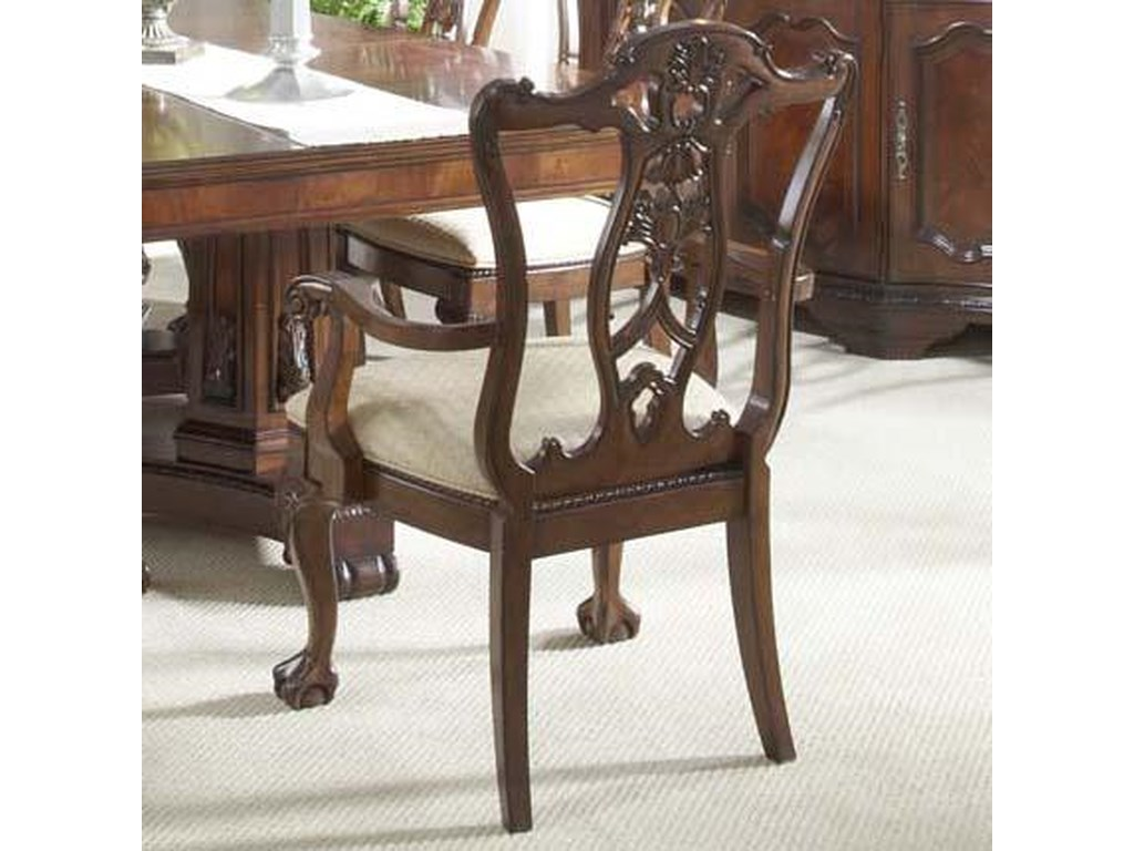 Westview Ball & Claw Dining Room Arm Chair Decorative Wood Back by Belfort  Signature at Belfort Furniture