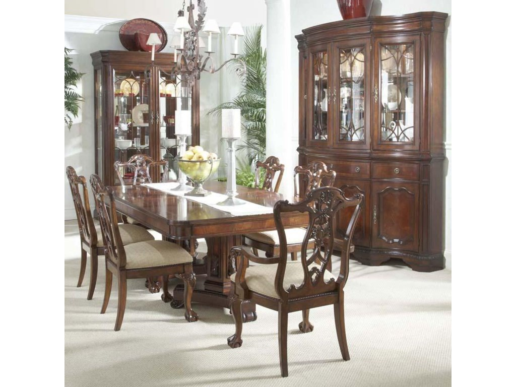 Shown in Room Setting with Ball & Claw Side Chairs, Double Pedestal Dining Table, China Buffet & Hutch and Display Cabinet