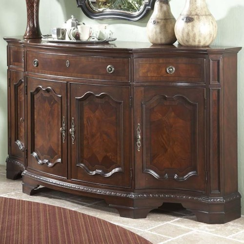 Fine Furniture Design Antebellum Four-Door Three-Drawer Shapely Buffet with Decorative Traditional Moldings & Bracket Feet