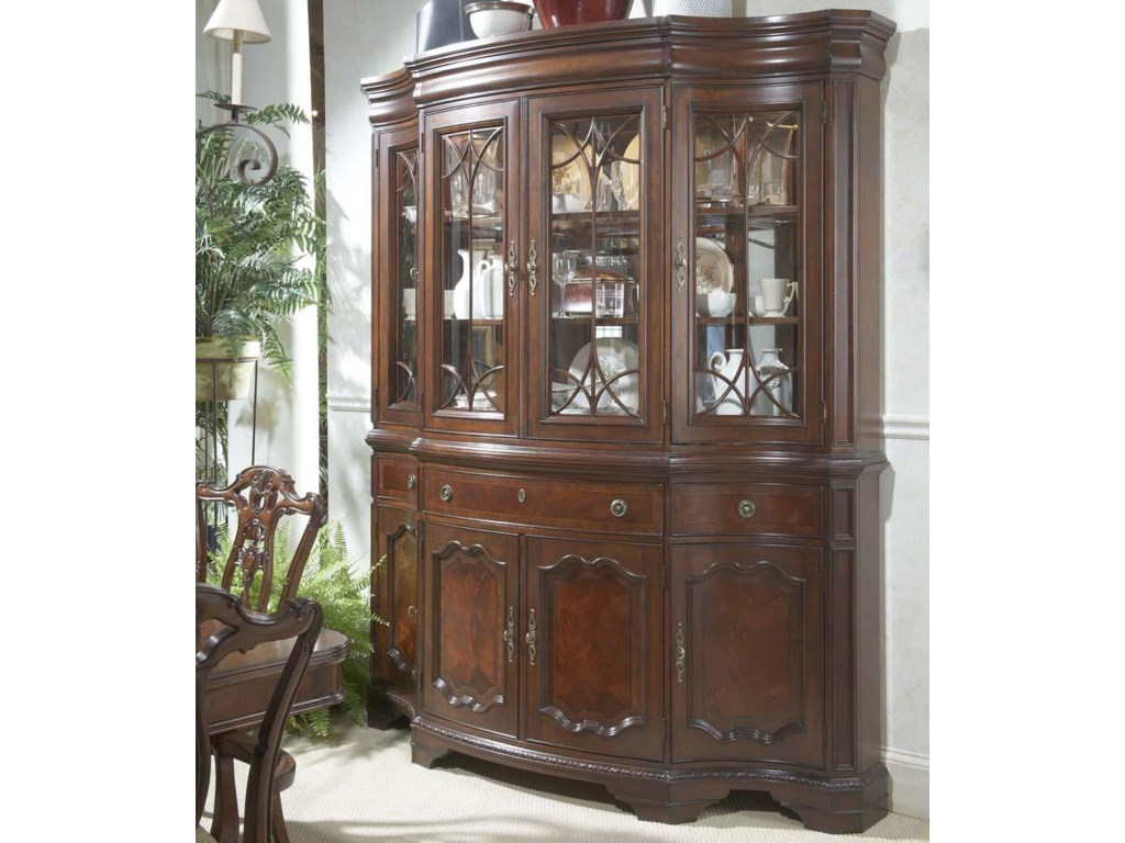 Antebellum Traditional China Buffet & Hutch with Glass Doors and Shelves by Fine Furniture Design