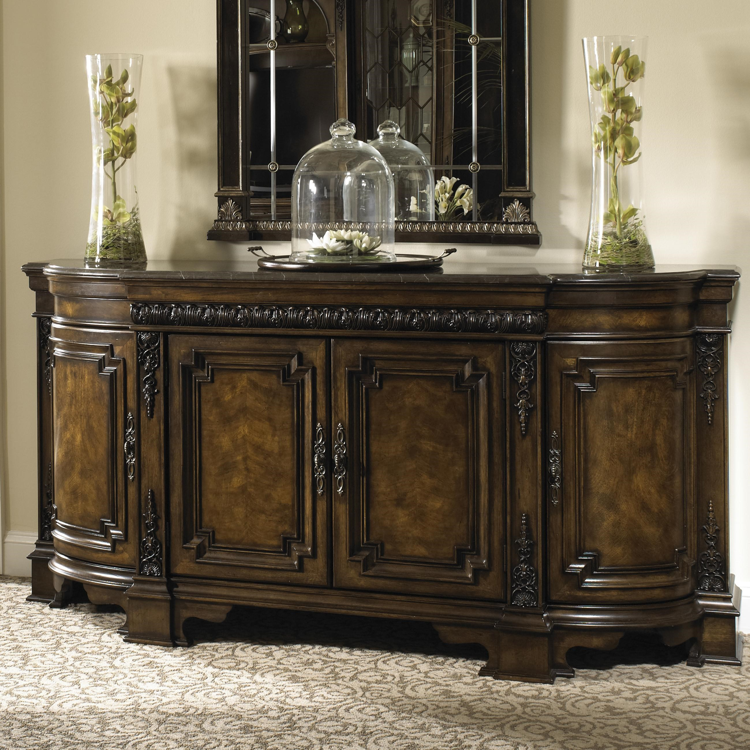 Michael Harrison Collection Belvedere Dining Credenza With Wood Top,  Gallery Rail, And Silverware Storage