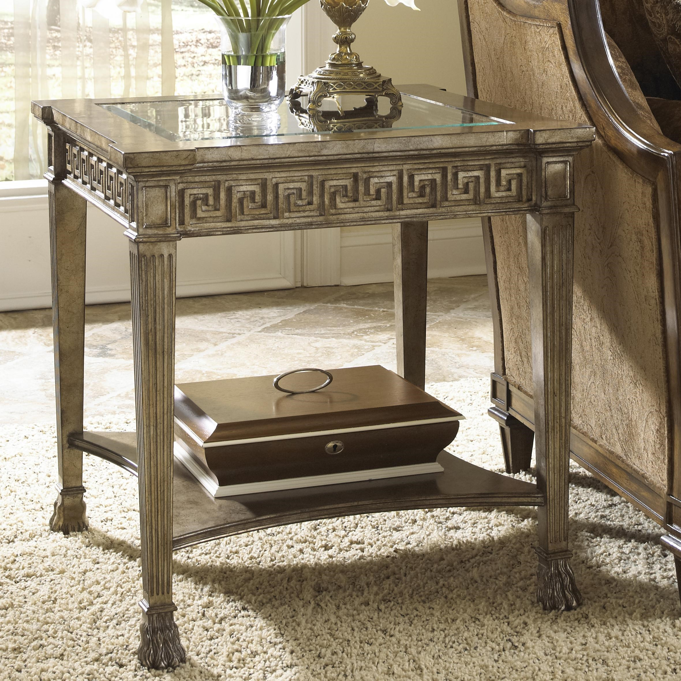 Fine Furniture Design Belvedere Grecian Style Side Table With Glass Top