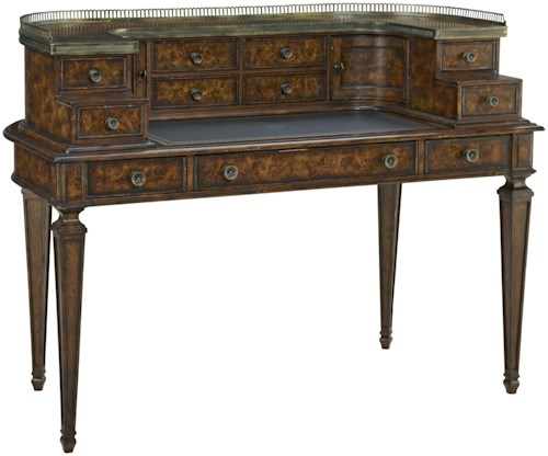 Fine Furniture Design Biltmore Pauline Writing Desk with Metal Gallery
