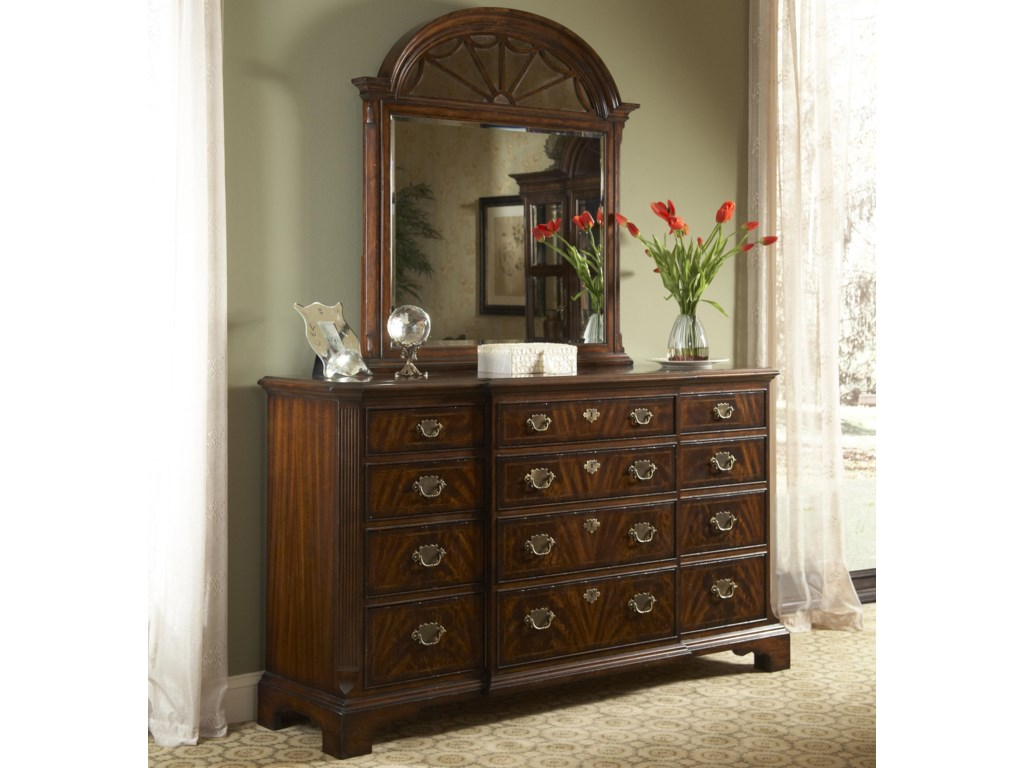 Fine Furniture Design Hyde ParkBreakfront Drawer Dresser and Mirror