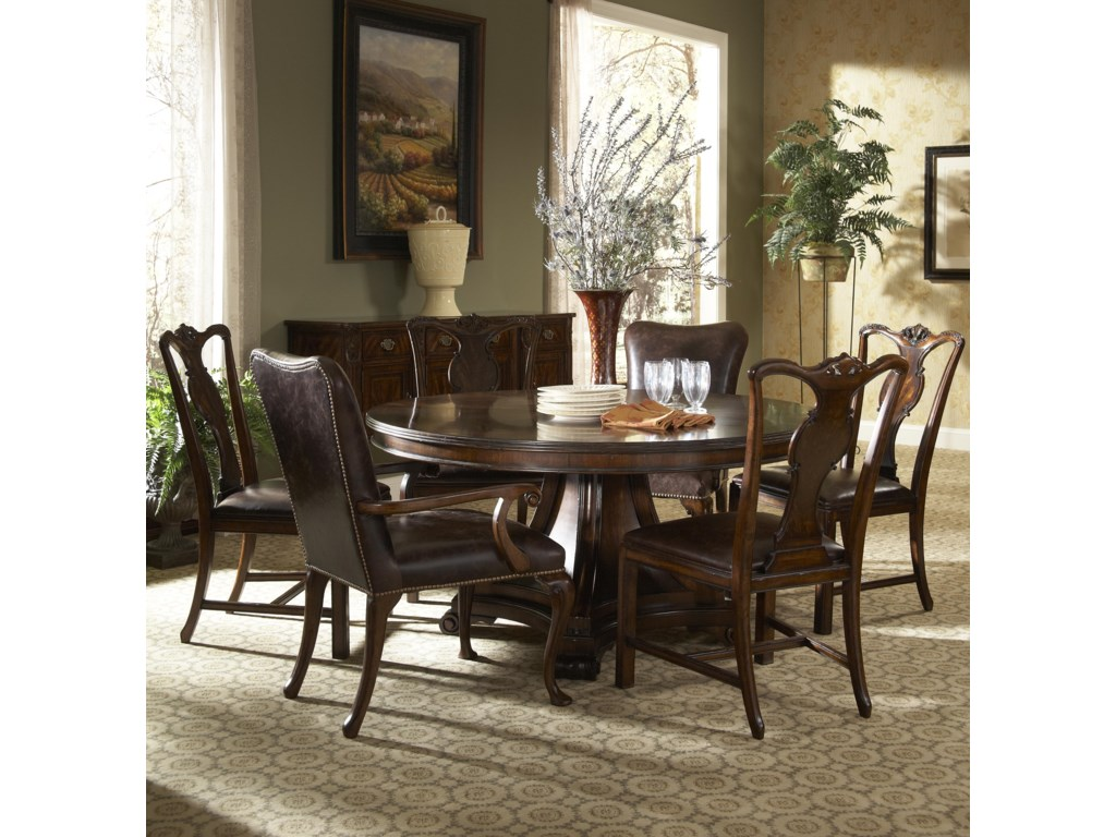 Shown with Sideboard, Splat Back Side Chair and Leather Upholstered Dining Arm Chair