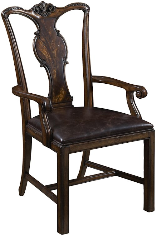 Fine Furniture Design Hyde Park Splat Back Arm Chair with Leather Seat