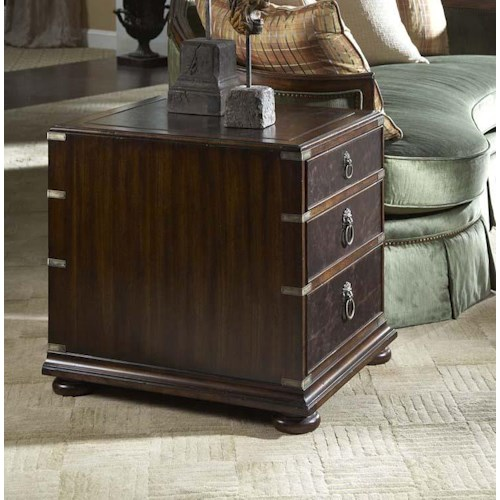 Fine Furniture Design Hyde Park 3 Drawer End Table With Tooled Leather Top