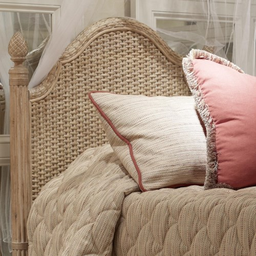 Fine Furniture Design Palm Island Guesthouse Woven Queen Headboard with Weave Pattern and Step Molding