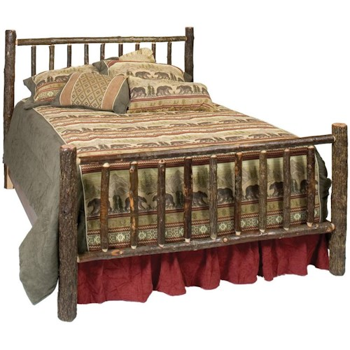 Fireside Lodge 80040 Hickory Traditional Queen Bed with Hand Crafted Design