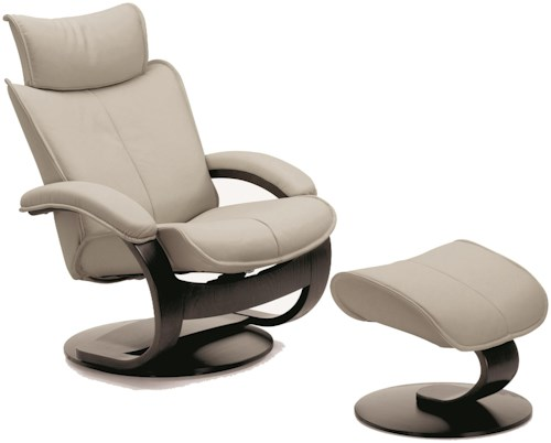 Fjords by Hjellegjerde Ona Contemporary Large Recliner and Ottoman with Adjustable Headrest