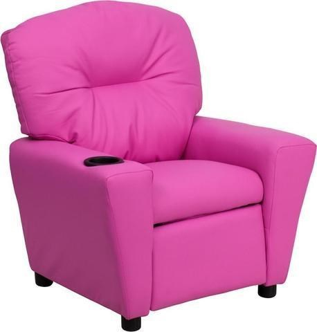Flash Furniture Kids Recliner With 1 Cup Holder Contemporary Hot Pink Vinyl  Kids Recliner With Cup