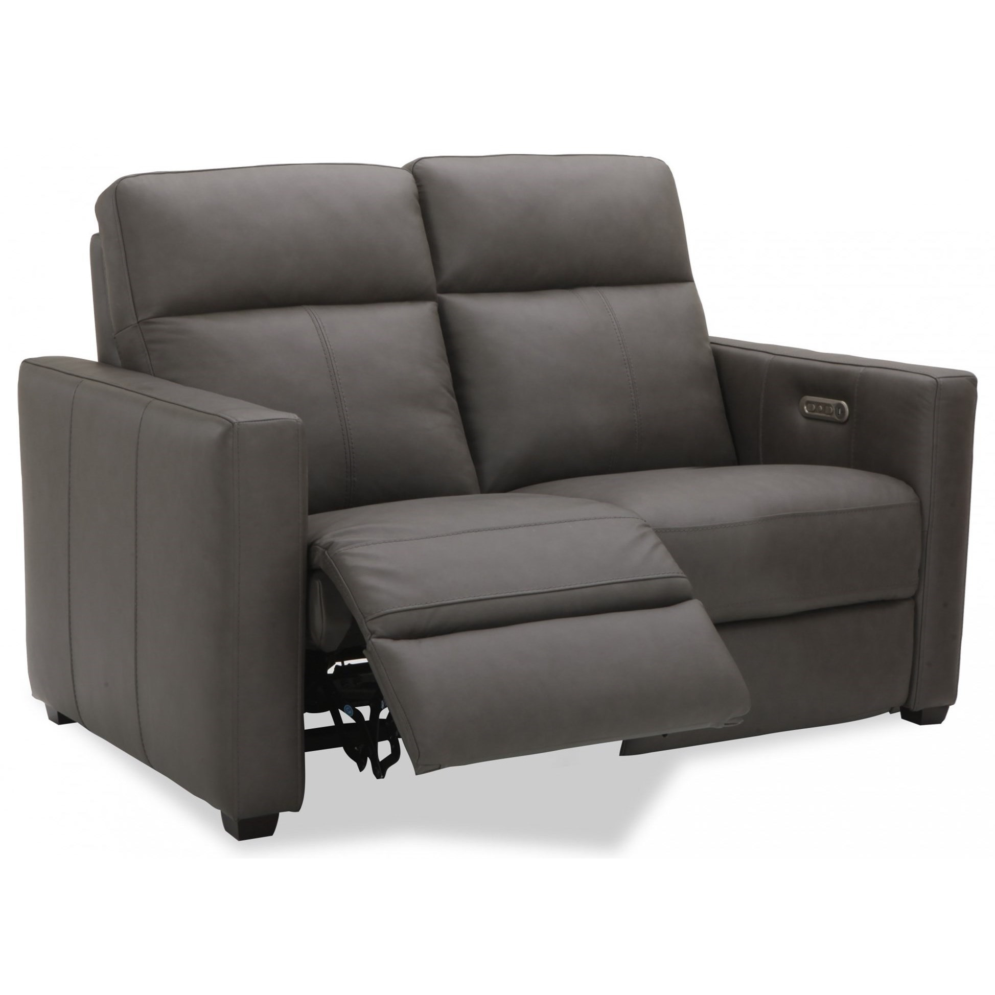 Contemporary Power Reclining Loveseat with Power Headrests