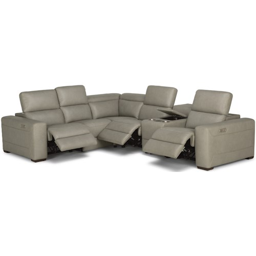Flexsteel Lexon Contemporary Reclining Sectional Sofa with Power Headrests and Speaker Console
