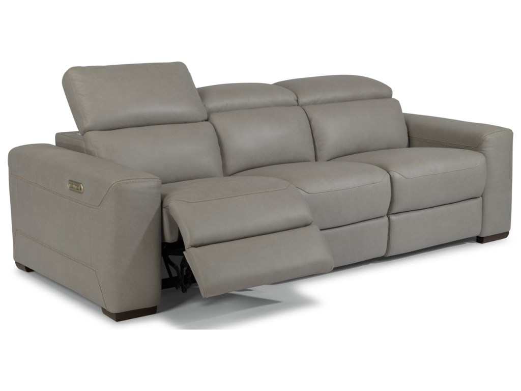 Flexsteel Gray Leather Reclining Sofa Baci Living Room